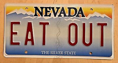 """NEVADA Vanity License Plate """" EAT OUT """" EATING OUT IS FUN FINE DINING RESTAURANT"""
