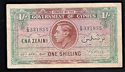 Cyprus King George VI ~ One Shilling Banknote ~ 30th April 1947 Rare Currency