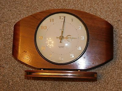 Vintage Smiths Electronic Dupontic Battery Wooden Cased Clock Needs Tlc