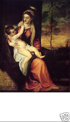 Santino Holy Card Tela Canvas Madonna With The Christ Child