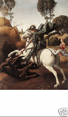 Santino Holy Card Tela Canvas Saint George And The Dragon