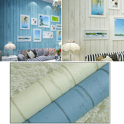 Modern Wood Print Non-woven Wallpaper Mediterranean Style Home Wall Stickers