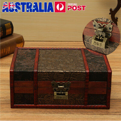 Large Decorative Trinket Jewelry Lock Chest Handmade Vintage Wooden Storage Box