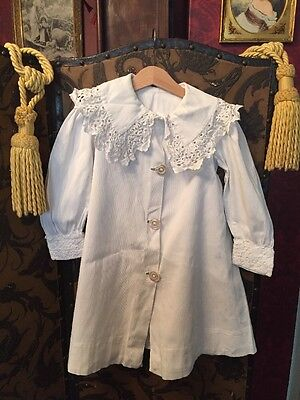 Antique Edwardian White Cotton Over Coat Sunday Best Approx Age 4-5
