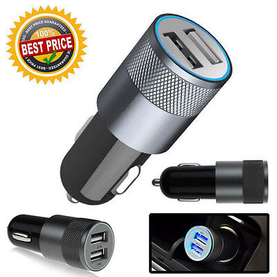 Universal Led 2 Ports Usb 12-24V Dual Car Charger Cigarette Socket Lighter