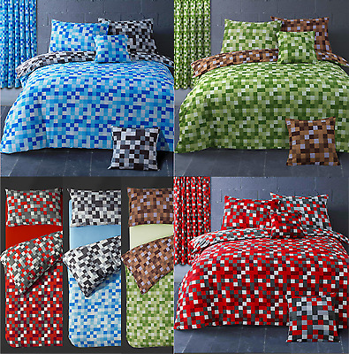 Reversible Checkered Pixels Minecraft Inspired Print Duvet Cover/Curtain Bedding