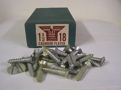 "#18 x 1 1/2"" Flat Head Wood Screws Slotted Cadmium Plated Made in USA Qty 25"