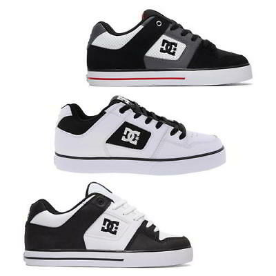 DC Pure Mens Black White Black Leather Skate Shoes Trainers Size 8-13