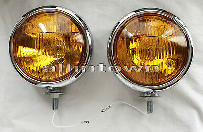 "5"" AMBER 12v Fog Lights Lamps Auxiliary Halogen Bulbs Chrome Driving VW CHEVY"