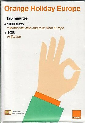 Orange European 4G LTE prepaid SIM (120 mm, 1000 SMS, 1 GB)