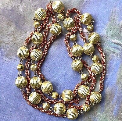 Vintage Copper Necklace,Beaded Necklace NOS,Ribbed Metal Beads,Nouveau,Art #G51