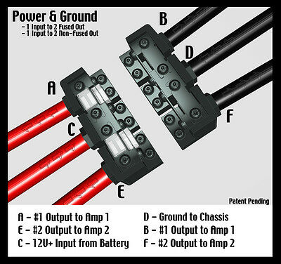 KnuKonceptz KNF-60 2 Way 0 Gauge Power & Ground Distribution Block 0 / 4 AWG Out