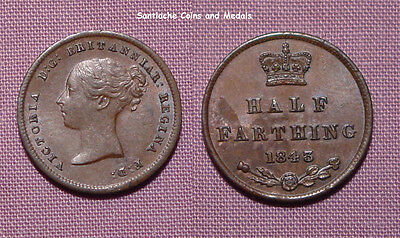 1843 QUEEN VICTORIA COPPER ONE HALF FARTHING - Nice Grade Coin
