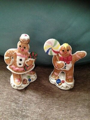 Vtg Fitz And Floyd Candy Lane Salt Pepper Shakers Mib Gingerbread Couple 2 Cute
