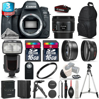 Canon EOS 6D Mark II DSLR Camera + 50mm+ Flash+ 32GB + EXT BATT +3yr Warranty