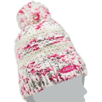 Arctic Cat Youth Chunky Knit with Pom Breathable Beanie - White Pink - 5283-117