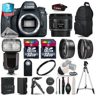 Canon EOS 6D Mark II Camera + 50mm 1.8 - 3 Lens Kit + Flash + 64GB +3yr Warranty
