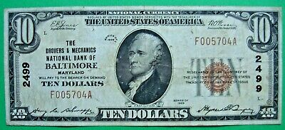 1929 $10 T1 Drovers & Mechanics National Bank Of Baltimore Maryland Md # 2499