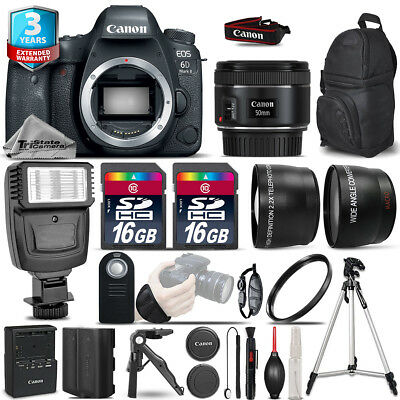 Canon EOS 6D Mark II Camera + 50mm - 3 Lens Kit + Flash + EXT BAT + 3yr Warrant