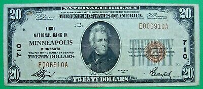 1929 $20. T1 FIRST NATIONAL BANK IN MINNEAPOLIS MINNESOTA MN Ch # 710