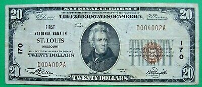 1929 $20. T1 FIRST NATIONAL BANK IN ST. LOUIS MISSOURI MO Charter # 170