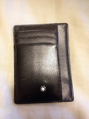 MONTBLANC Black Soft Calfskin Leather 4 Pocket CC Credit Card Wallet MSRP $155