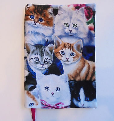 FABRIC Paperback Book Cover for Standard Paperback Book CAT FACES Kittens Kitty