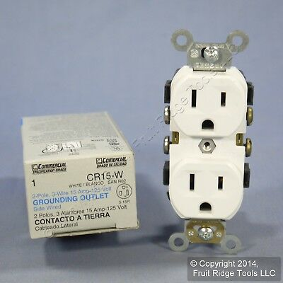 Leviton White COMMERCIAL GRADE Outlet Duplex Receptacle 15A 120V CR15-W Boxed