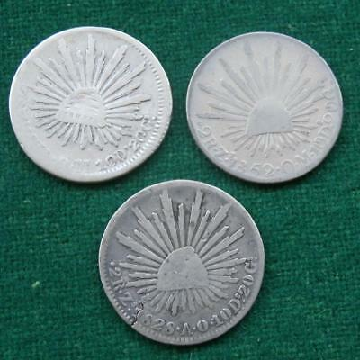 Mexico 2 Reales Silver Lot of 3 coins Zacatecas  Caps & rays