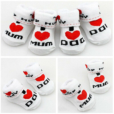 Infant Toddler Baby Socks Love Mum and Dad Letter 0-6 Months Boys or Girls