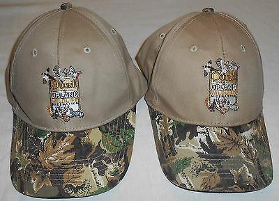 Lot of 2 QUAIL & UPLAND WILDLIFE FEDERATION Tan & Camo Velcro Adjust Hats Caps