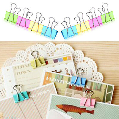 Fashion 10Pcs 15mm Metal Binder Clips Office School File Paper Organizer Hot