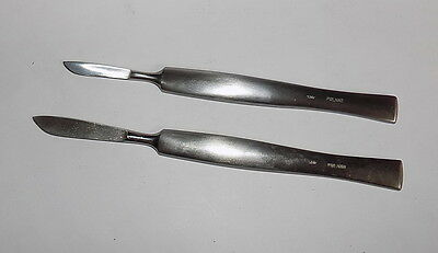 Two surgical scalpel ~ Poland 1980's~Unused~stainless steel #12617