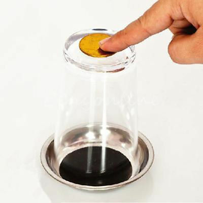 Coin Through Glass Cup Tray Close Up Easy Amazing Gimmick Magic Trick Props