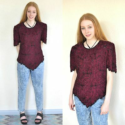 Vintage 80's Burgundy Sequin Beaded Party Top M 8 10 12