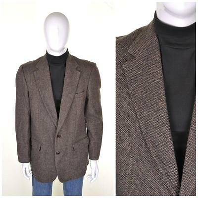 Vintage Anni 70 Tweed Giacca L 42L Marrone Abito di Lana Hacking Giacca 1970s