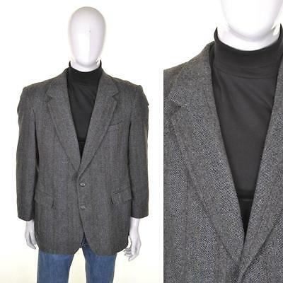 VINTAGE ANNI 70 Tweed Giacca L 44R grigio lana a spina di pesce Abito HACKING