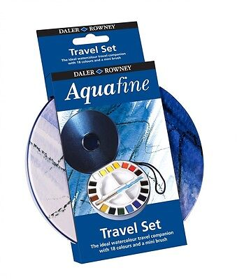 Daler Rowney Aquafine Travel Set Round Watercolour Tin 18 Artist Paints Brush