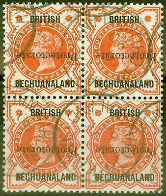 Bechuanaland 1890 1/2d Vermilion SG54a Protectorate Inverted in a VFU Block of 4