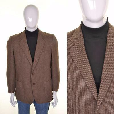 PIERRE CARDIN VINTAGE ANNI 70 Tweed Giacca M 40R marrone Abito di lana HACKING