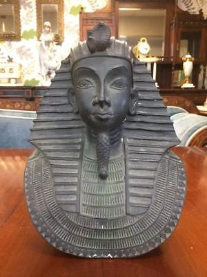 Vintage Metal Contemporary Egyptian Themed Brass Bronze COLOURED Pharaoh Bust