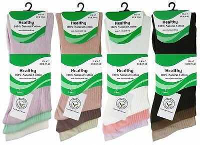Ladies Non Elastic Diabetic Socks Soft Top Natural Cotton Healthy Socks 3 Pairs