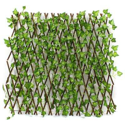 Expandable Artificial Faux Ivy Leaf Hedge Panels On Roll Garden Screen Fence