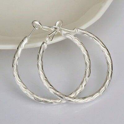 Fashion 925 Silver plated Jewelry Circle Hoop Earrings For Women E341