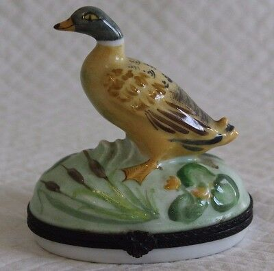 Large 10cm Limoges Duck Bonbonniere Trinket Box
