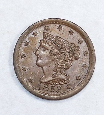 1853 Braided Hair Half Cent ALMOST UNCIRCULATED 1/2c