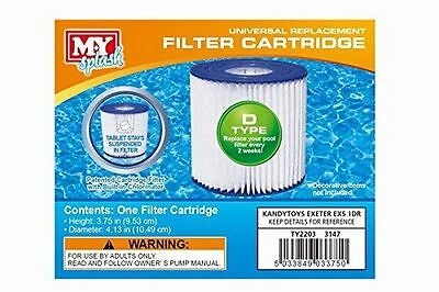 M.Y Splash 1 x Type D Universal Filter Replacement Cartridge Swimming Pool