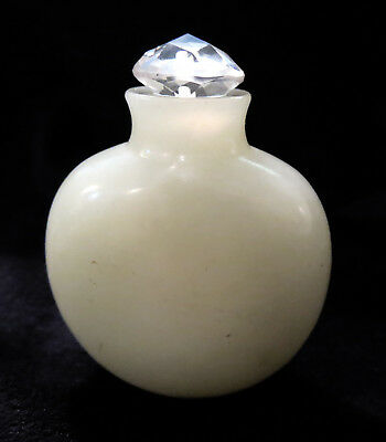 SNUFF Bottle WHITE Jade ANTIQUE 18th/19th Century OVOID Form