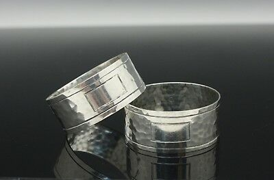 Pair International Sterling Silver Napkin Rings Hand Hammered Arts & Crafts