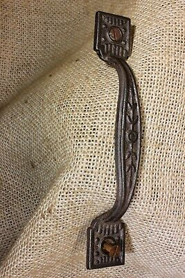 "Screen Door Handle fancy Drawer pull old 5"" vintage 1880's rustic iron flowers"